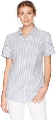 Lark & Ro Amazon Brand Women's Pintucked Short Sleeve Collar Top