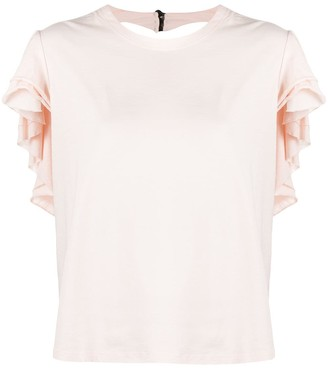 Parlor ruffled cut-out T-shirt