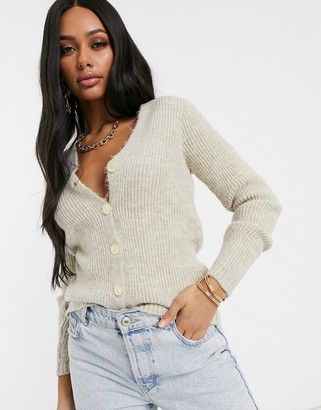 NA-KD Na Kd textured V-neck cardigan in beige