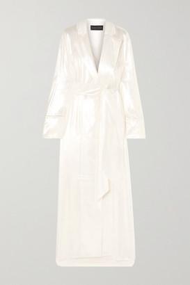 Michael Lo Sordo Double-breasted Metallic Velvet Gown - White