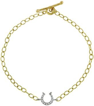 Cathy Waterman Diamond Horseshoe Yellow Gold Bracelet