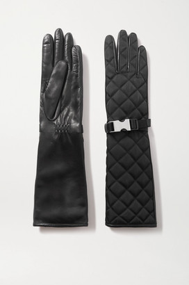 Prada Buckle-detailed Quilted Nylon And Leather Gloves - Black