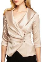 Alex Evenings Plus Satin Portrait Collar Wrap Blouse