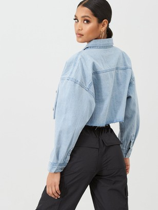 Missguided Cropped Raw Hem Denim Jacket - Light Blue