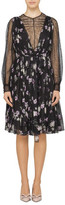 Valentino L/S BLACK FLORAL DRESS WITH LACE SLEEVES