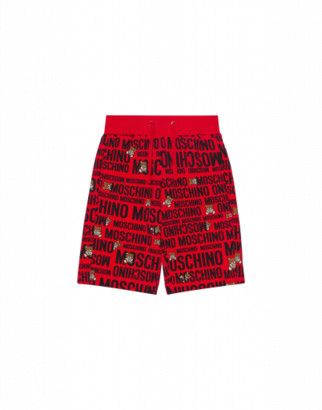 Moschino Teddy Logo All Over Shorts Unisex Red Size 10a It - (10y Us)