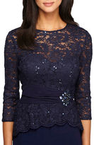 Alex Evenings Embellished Waist Lace Blouse