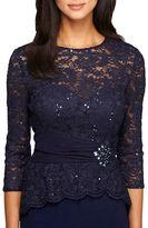 Alex Evenings Plus Embellished Waist Lace Blouse