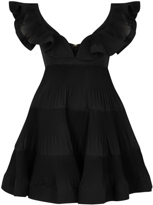 Zimmermann Lovestruck black pleated organza mini dress