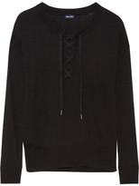 Splendid Lakewood Lace-up Stretch-knit Sweater - large