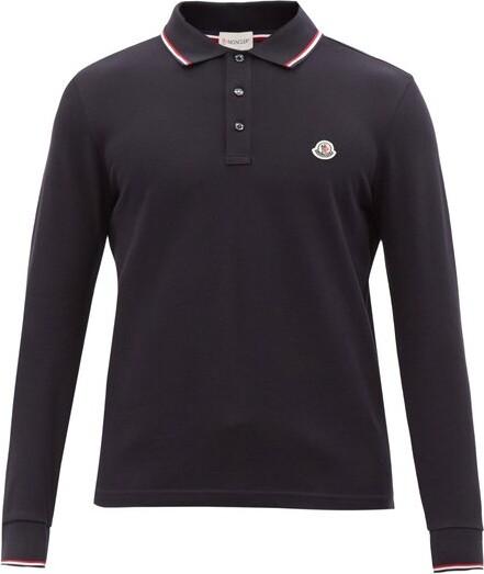 Logo-applique Long-sleeved Cotton Polo Shirt - Navy