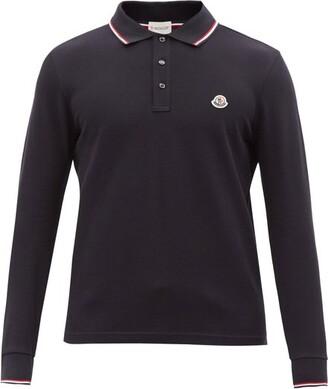 Moncler Logo-applique Long-sleeved Cotton Polo Shirt - Navy