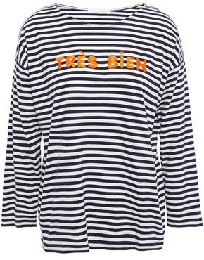 Parker Chinti & Embroidered Striped Cotton-jersey Top
