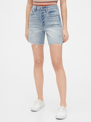Gap Mid Rise Destructed Boyfriend Shorts with Raw Hem