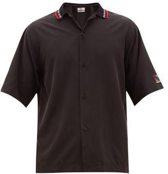 Martine Rose Logo-collar Short-sleeved Satin Shirt - Black