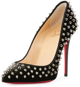Christian Louboutin Follies Spiked Velvet 100mm Red Sole Pump, Fusain/Dark Gunmetal