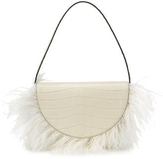 STAUD Amal Mock-Croc Feathered Shoulder Bag