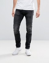 Jack and Jones Intelligence Slim Fit Jeans With Biker Knee Detail In Washed Gray Denim