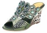 Honeystore Women's Rhombus Rhinestones Handmade Party Wedge Sandals