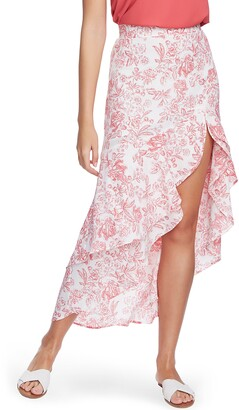 1 STATE Porcelain Floral Print High/Low Maxi Skirt