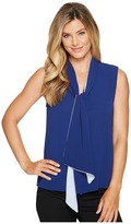 Vince Camuto Sleeveless Tie Neck Color Blocked Blouse Women's Blouse