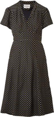 HVN Polka-dot Silk Crepe De Chine Dress