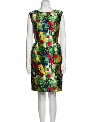 Oscar de la Renta Silk Knee-Length Dress Green