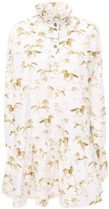 Ganni Horses Print Cotton Poplin Mini Dress