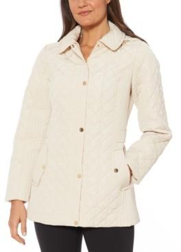 Jones New York Petite Water-Resistant Quilted Hooded Jacket