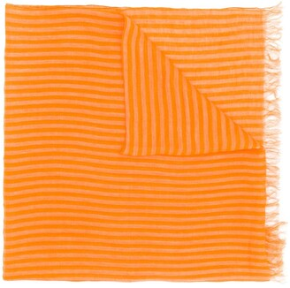 Issey Miyake Pre Owned 1990's Striped Frayed Scarf