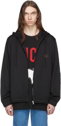 Gucci Black Logo Oversized Zip Hoodie