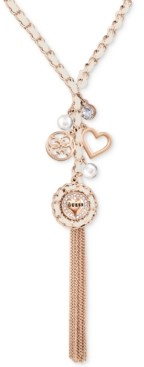 """GUESS Rose Gold-Tone Woven Charm Lariat Necklace, 30"""" + 2"""" extender"""