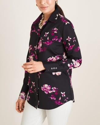 No Iron Sateen Floral-Print Cotton Shirt