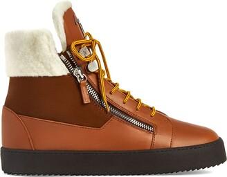 Giuseppe Zanotti Trek shearling-trimmed high-top sneakers