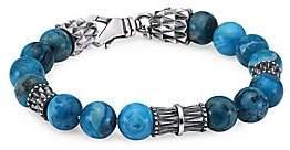 Emanuele Bicocchi Men's Sterling Silver & Turquoise Beaded Bracelet