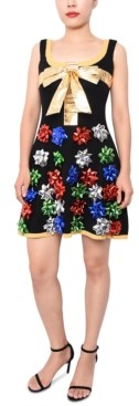Planet Gold Juniors' Bow-Embellished Sweater Dress