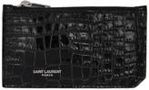 Saint Laurent Black Croc Fragment Zipped Card Holder
