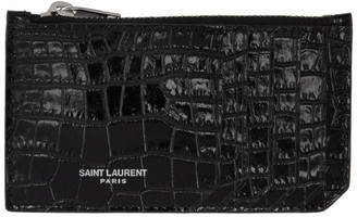 Saint Laurent Black Croc Fragment Zipped Card Holder