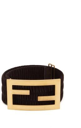 Fendi Ff-buckle Velvet Belt - Black