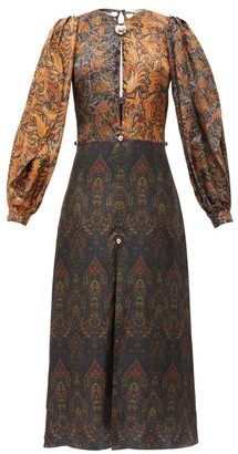 Christopher Kane Paisley Dome-embellished Patchwork Satin Dress - Brown Print