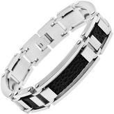 JCPenney Stainless Steel & Black Faux-Leather Mens Bracelet