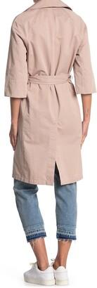 AllSaints Luna 3/4 Sleeve Tie Waist Trench Coat