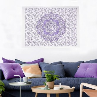 Oussum Boho Hippie Bohemian Mandala Printed Multi-Color Cotton Wall Hanging Decor Poster Tapestry Throw Bedspread - 30x45 inches