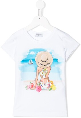 MonnaLisa graphic print crew neck T-shirt
