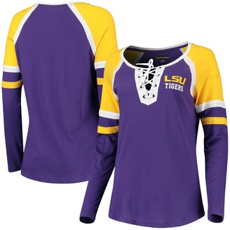 New Era Women's 5th & Ocean by Purple LSU Tigers Lace-Up Raglan Long Sleeve T-Shirt