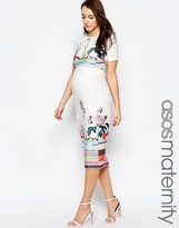 Asos Scuba Pencil Dress In Floral And Stripe