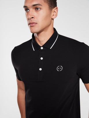 Armani Exchange Jersey Tipped Polo Shirt - Black