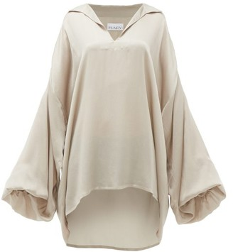 Raey Hammered Silk Smock Blouse - Womens - Grey