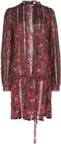 Paule Ka Lurex Floral Lace Pleated Shirt Dress