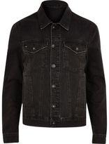 River Island Mens Big and Tall Black distressed denim jacket